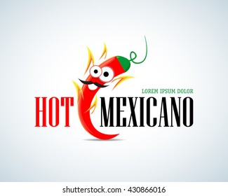 Hot Mexicano Chili Pepper Cartoon Mascot Logo template. Mexican Fast food logotype template. Isolated vector illustration.