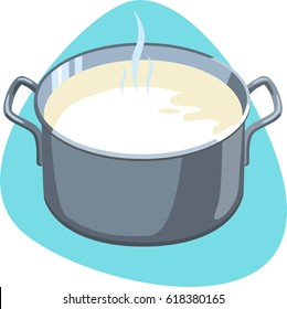 Hot milk in stainless pot with handles. Isolated. On blue background.
