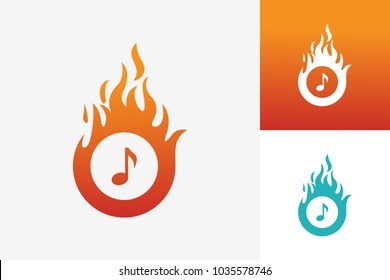 Hot Music Logo Template Design Vector, Emblem, Design Concept, Creative Symbol, Icon