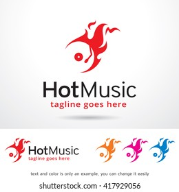 Hot Music Logo Template Design Vector