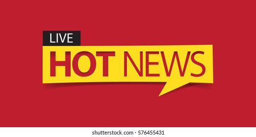Hot news banner isolated on red background. Banner design template. Vector illustration
