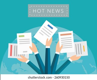 Hot news concept vector background on blue