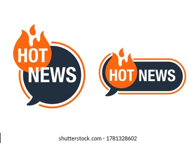 Hot News icon or banner element - flame silhouette and burning words - important anounce promo concept - isolated button
