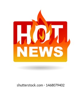 Hot News icon - flame silhouette and burning words - important anounce promo concept - isolated button