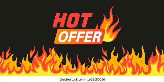 Hot offer. Burning fire and flames frame like symbol of sale with text for promo vector saling banner