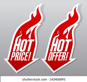 Hot offer,hot price fiery symbols.