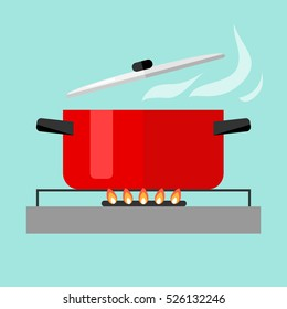 Hot pan isolated, saucepan on the stove, pan icon, cook. Flat design. Vector.