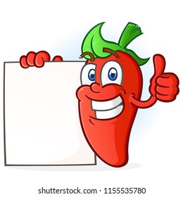 Hot Pepper Cartoon Character Holding a Blank Poster Sign