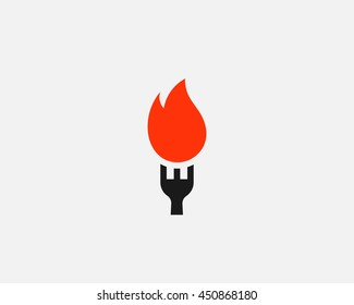 Hot pepper chilly grill logo vector design. fork fire flame food logotype