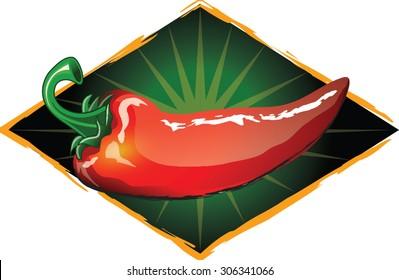 hot pepper logo or label design with burst