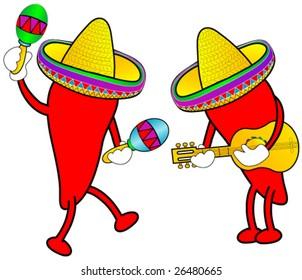 Hot peppers celebrating cinco de mayo.