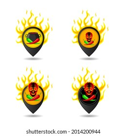 Hot peppers. Green, red peppers on the background of a cauldron, fire, skull. Trendy logo concept. Geolocation sign, location designation. Vector isolated, for cooking, websites, blogs, advertising
