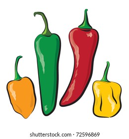 hot peppers illustration