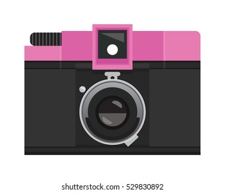 Hot Pink and Black Analog Film Camera