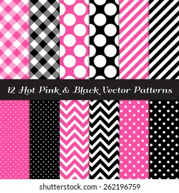 Hot Pink, Black and White Gingham, Chevron, Polka Dot and Candy Stripes Patterns. Modern Geometric Backgrounds. Vector EPS File Pattern Swatches made with Global Colors.