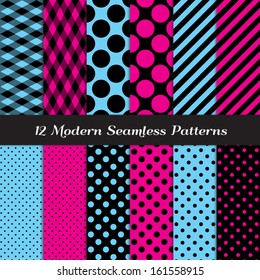 Hot Pink, Blue and Black Fishnet, Polka Dot and Stripes Seamless Patterns. Perfect for girls Sweet 16, Monster Dolls, Chic Paris or Bachelorette Party decor. Pattern Swatches made with Global Colors.