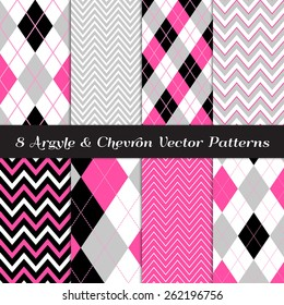 Hot Pink, Gray, Black and White Argyle and Chevron Patterns. Vector EPS File Includes Pattern Swatches Made with Global Colors.