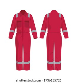 Hot-Rosa-Arbeitsüberzüge mit isoliertem Sicherheitsband auf weißem Hintergrund