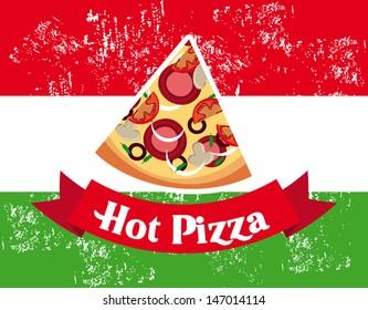 hot pizza design over italian flag background vector illustration
