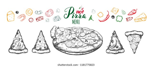 Hot Pizza set with ingredients and different types of pizza slices. Vector hand drawn illustration. Modern brushpen Calligraphy, Lettering. Sketch styled isolated objects