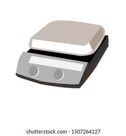 Hot plate magnetic stirrer icon. Hot plates contain a magnetic stirrer and heated liquid to be stirred automatically.