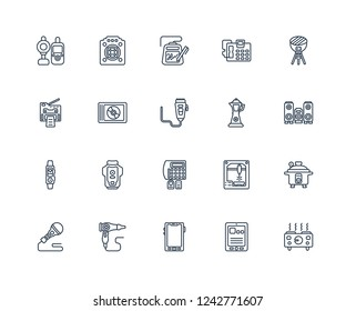 hot plate, Tablet, Mobile phone, Hairdryer, Microphone, BBQ grill, percolator, burglar alarm, Activity tracker, Compact disc, electronic outline vector icons from 20 set