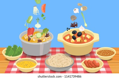 Hot pot and ingredients
