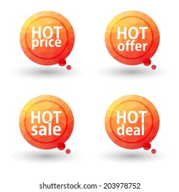 Hot Price, Hot Offer, Hot Sale and Hot Deal labels. Vector.