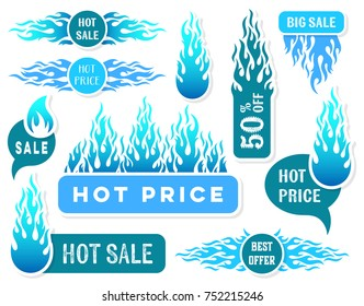 Hot price winter sale text labels blue flames