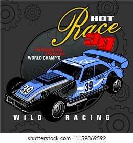hot race car illustration,vector for t shirt