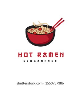 Hot ramen / noodle / pasta in soup red bowl with chopstick and sprinkle spicy logo design vector cartoon style