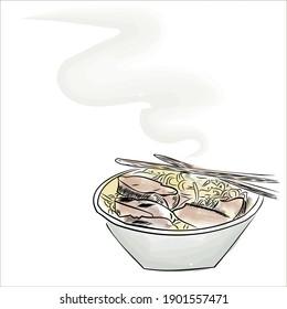 Hot ramen, noodles, soup, Asian food. Japanese dish. chopsticks, plate. street food in korea. postcard, place for text. banner, flyer. restaurant menu. vector eps 10