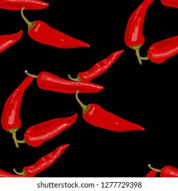 hot red chili peppers on black background. seamless pettern.