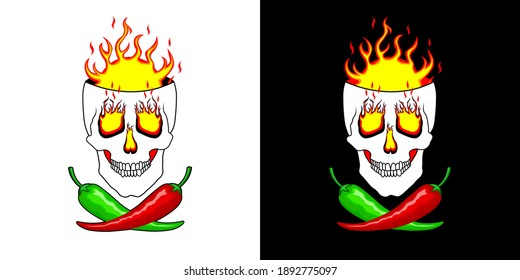 Hot red, green, mexican chili peppers on the background of burning skull. Super Hot peppers. Logo, illustration for spicy hot Mexican, Indian dishes, sauces. Vector for cooking in two design options
