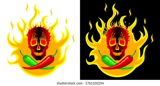 Hot red and green mexican peppers on the background of fire with a burning skull. Logo, illustration for spicy hot Mexican, Indian dishes, sauces. Vector isolated in two designs for cooking