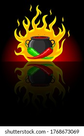 Hot red and green mexican peppers on the background of a cauldron with hot simmering Mexican dish and fire. Black background with mirror reflection. For spicy hot Mexican, Indian dishes, sauces
