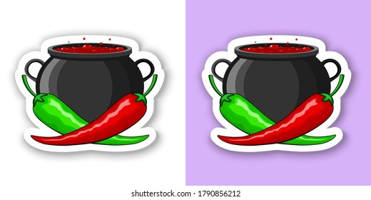 Hot red and green mexican peppers on the background of a cauldron with hot simmering Mexican dish. With white outline, shadow. Vector isolated, High Quality, Ai, EPS, JPEG. For spicy hot dish, sauce