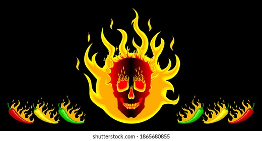 Hot red, green, yellow mexican chili peppers on the background of fire with a burning skull. Logo, illustration for spicy hot Mexican, Indian dishes, sauces. Vector on black background for cooking