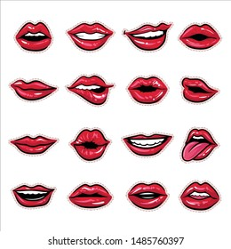 Hot Red Lips Sexy and Sensual Sticker Character Design Set