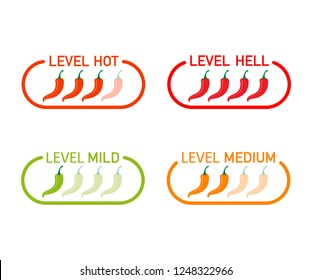 Hot red pepper strength scale indicator with mild, medium, hot and hell positions. Vector stock illustration.
