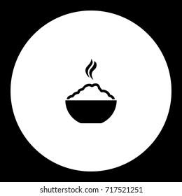 hot rice food in bowl simple black icon eps10