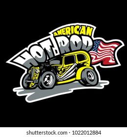 Hot Rod, American Custom made cars. T-Shirt print template.