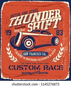 hot rod  car illustration vector print