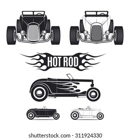 Hot rod car illustrations isolated on white background. Front view, side view. Classic car isolated on white background.