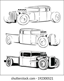 hot rod car vector hand drawing sketch set