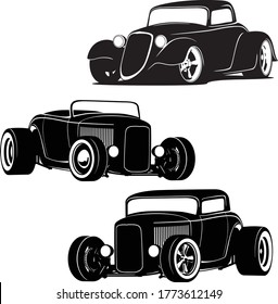 Hot Rod Cars Silhouette Set Isolated Vector Illustration
