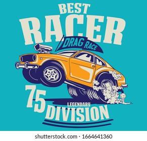 hot rod custom american race car illustration for t shirt print