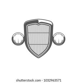 Hot rod emblem. Radiator grill. Isolated on white background.