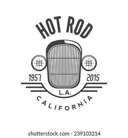 Hot rod emblem. Retro style