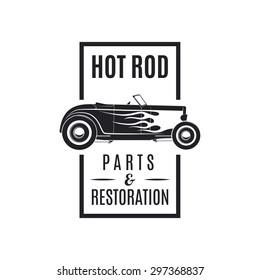 Hot rod emblem. Vintage style.
